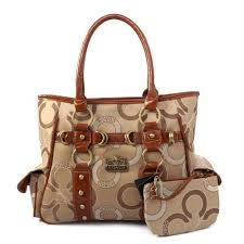 Coach Big C Stud Signature Medium Khaki Totes EJH