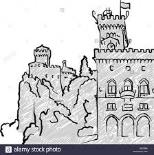San marino famous travel sketch lineart drawing by hand greeting card design vector