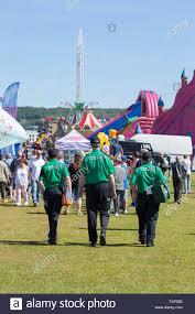 Weston Light Festival Rear View Of Three Members Of The St John Ambulance Team On