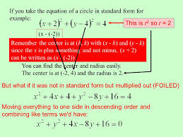 if you take the equation of a circle in standard form for example you can