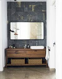 modern bathroom furniture. An Alluring Natural Palette Of Slate, Marble, Wood And Metal Makes For A Luxurious Interesting Modern Bathroom Scheme. Nice Tile Behind Sink. Furniture C