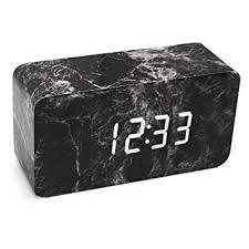 Amazon.com: LiKee <b>Alarm Clock</b>, Marble Fashion <b>Wooden LED</b> ...