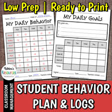 How To Make A Goal Chart Student Behavior Plan With Log Charts And Goal Reflection Pages