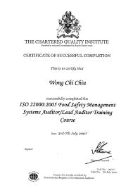 a top consultants limited iso consultant food safety management systems iso 22000 2005 certified auditor lead auditor training course organized by cqi uk