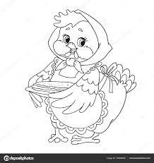 Schattige Cartoon Karakter Kip Grootmoeder Met Pannenkoeken Vector