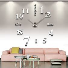diy silver large 3d wall clock home decorative mirror face eva sticker