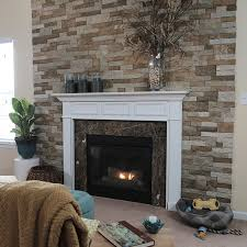 stone veneer surrounding the fireplace