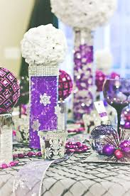 Contemporary Wedding Table Accessories And Decoration Using Cute Wedding  Centerpiece : Minimalist Purple White Wedding Table