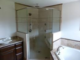 frameless neo angle shower w 2 half walls 3 8 inch clear glass brushed nickel hardware pivot hinges installed in waukesha