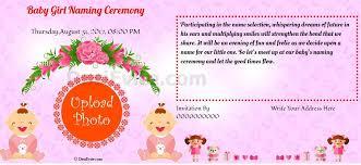 Baby Girl Naming Ceremony Invitation In 2019 Naming