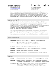 Film Resume Format Letter Example