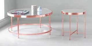 collection round mirrored top coffee table