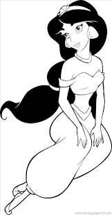 Princesses Jasmine Coloring Coloring Page Free Disney Princess