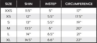 Shin Guard Size Chart Pro Spar Shin Guard Blank