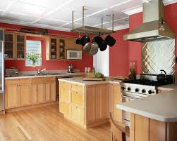 Rustic red painted kitchen cabinets images