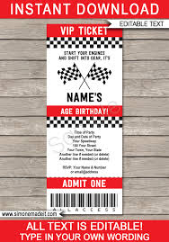 Car Birthday Invitations Race Car Party Ticket Invitations Template Red