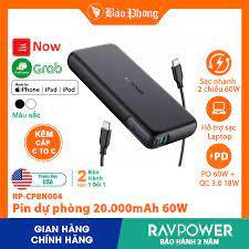 Pin Sạc dự phòng RAVPower 20000mAh 60w PD3.0 RP-CPBN004 cho iPhone iPad IP  6 7 8 Plus 10 11 12 Pro max x xs giá rẻ giá cạnh tranh