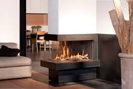 image of 3 sided gas fireplace unique and elegant room divider