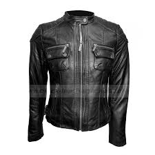 buckle collar motorcycle leather jacket womens black