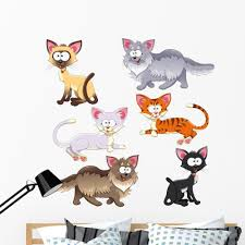 Alley Cat Designs Wallmonkeys Cartoon Alley Cats Wall Decal Sticker Set Individual Peel And Stick Graphics On A 24 In W X 24 In H Sticker Sheet Wm277575