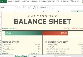 Excel Sheets Templates Opening Day Balance Sheet For Excel