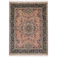 vintage pink persian tabriz rug with arabesque art nouveau