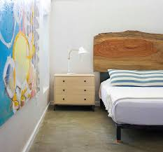 natural wood headboard in the contemporary bedroom design sarah stacey interior design