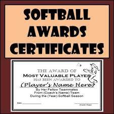 Softball Awards Certificates Nomination Ballots 9 Different Awards