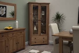 Living Room Cabinet With Doors Tilson Solid Rustic Oak Living Room Furniture Glass Display