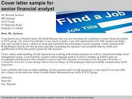 cover letter sample for senior financial analyst financial analyst cover letter