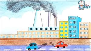 How To Make Chart On Pollution How To Draw Environment Pollution Step By Step