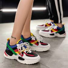 Chunky Designer Shoes Women Sneakers 2019 Multi Color Thick Sole Ladies Platform Shoes Height Increasing Chunky Shoes Women Casual Designer Shoes