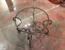 louis xv wrought iron french table base with round glass top for