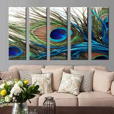 5 Pcs/Set Peacock Feather Wall Art Top Home Decoration Modern Wall Painting  Canvas Art