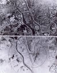 the atomic bomb and the end of world war ii a collection of  ground view of nagasaki before and after the bombing 1 000 foot circles are shown photo from u s national archives rg 77 mdh