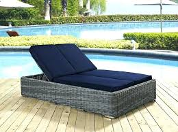 patio furniture chaise lounge. Navy Blue Patio Furniture Rattan Frame Double Outdoor Chaise Lounge On Wooden Deck Cushions Blu