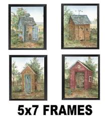 primitive outhouse bathroom wall art set of 3