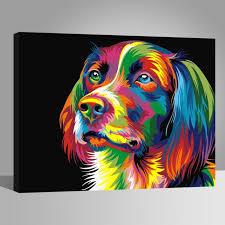 Chien coloré Peintures-DIY-40x50cm-avoir DIY peinture cadre-Toile ...