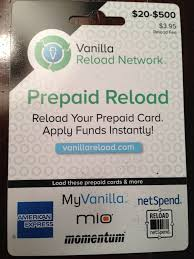 where else can you vanilla reloads with a credit card