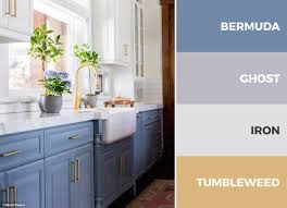 blue gold and white kitchen