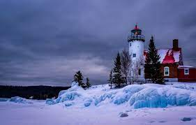 Wallpaper winter, snow, landscape, lake ...