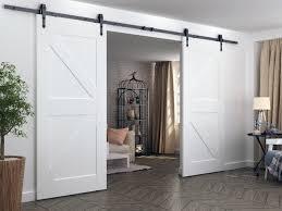 diyhd 244cm 400cm heavy duty arrow wheel rustic black double sliding barn door hardware to