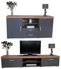 Uk Living Room Furniture Graphite Walnut Sydney Large Sideboard Tv Cabinet 140cm Unit