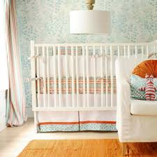 turquoise blue and orange crib bedding contemporary nursery