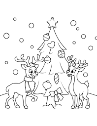 Reindeers Near The Christmas Tree Coloring Page Free Printable