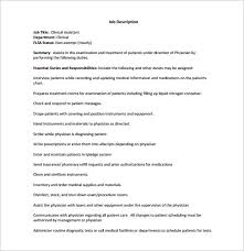 Clinical Assistant Jobs Medical Assistant Job Description Template 9 Free Word Excel