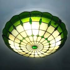stained glass light green color inch flush mount ceiling in style bulb home depot