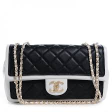 CHANEL Calfskin Quilted Graphic Medium Flap Bag Black White 63599 & CHANEL Calfskin Quilted Graphic Medium Flap Bag Black White Adamdwight.com