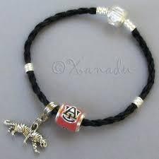 pandora stopper bead auburn university football team beads on black leather charm bracelet chain
