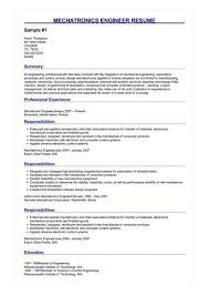 Mechatronics Engineer Resume Great Sample Resume
